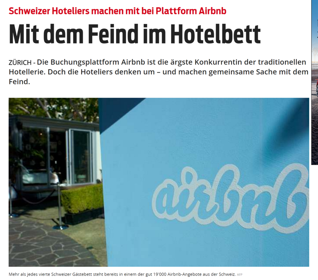 Schweizer Hoteliers machen mit bei Plattform Airbnb_ Mit dem Feind im Hotelbett