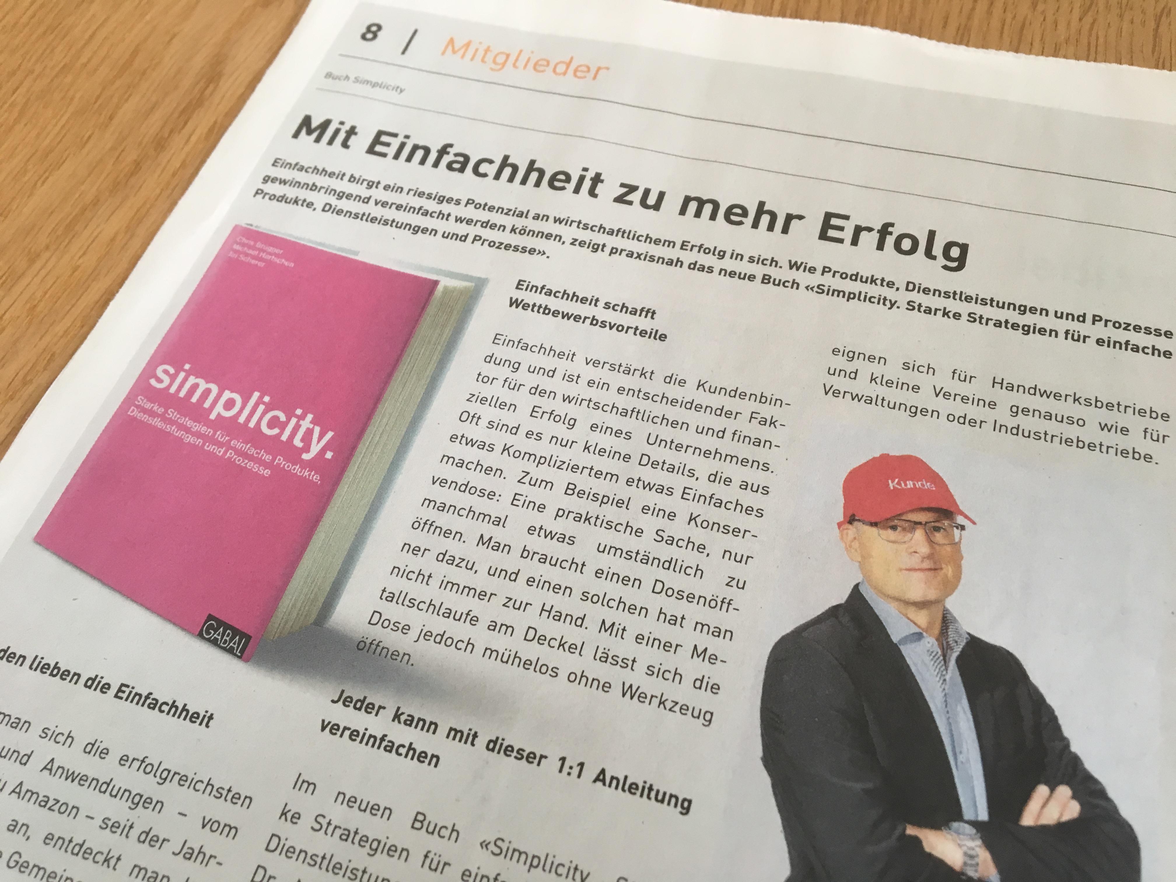 Simplicity Presse Erfolg Hartschen