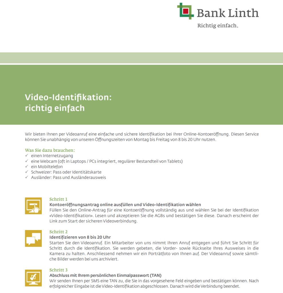 Bank Linth Kontoeröffnung online