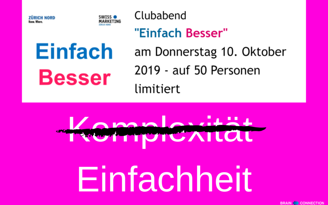 EINFACH BESSER – Referat beim Swiss Marketing Club Zürich Nord!